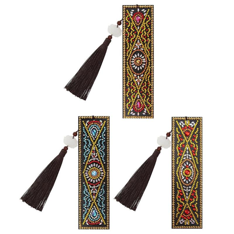 VKTECH DIY Book Marks  Special Pattern Shaped Diamond Painting Leather Bookmark With Tassel Office Supplies Craft