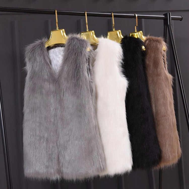 Yeni stil özel teklif kadın kürk yelek Faux Fox kürk orta uzunlukta yelek avrupa ve amerika büyük boy zayıflama rahat ceket
