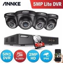 ANNKE Sistema de videovigilancia con visión nocturna, 4 canales, H.265 + 5MP Lite, DVR, 4 Uds., IR, 1080P, Kit de videovigilancia