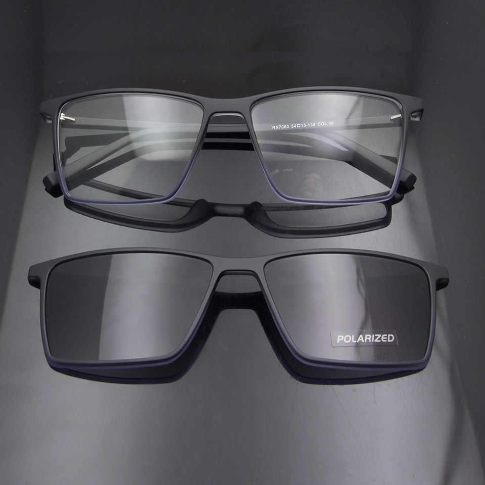 Esnbie ultralight tr90 óculos magnéticos quadro feminino óculos polarizados clip em óculos de sol para homem quadrado oculos de grau