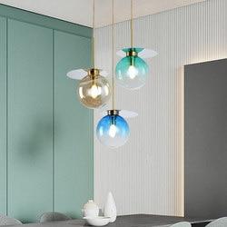 Nordycki kreatywny szkło gradientowe żyrandol w kształcie kuli restauracja/bar sypialnia nowoczesne sztuki kolor LED pojedynczy klosz szklany żyrandol w Wiszące lampki od Lampy i oświetlenie na