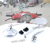 Chrome Black Carbon NEW Motorcycle Retro Round Rear View Mirrors Clear Glass Mirro for VESPA GTS 300 GTV Primavera 125/150