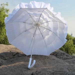 Image 5 - Sombrilla con volantes blanco para niñas, envío gratis