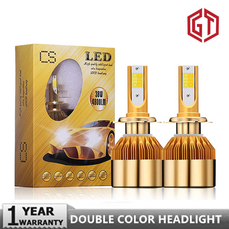 GUANGJI Led Car Headlight Double Color 6000K/ White 3000K/ Gold Color 12V 8000LM H4 H7 H1 H8 H9 H11 Car Led Headlamp