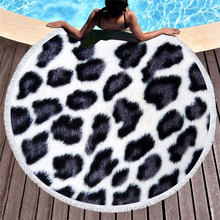 Animal Skin Pattern Summer Round Beach Towel with Tassels Towels Picnic Yoga Mat Travel Toalla De Playa for 2019 Polyester