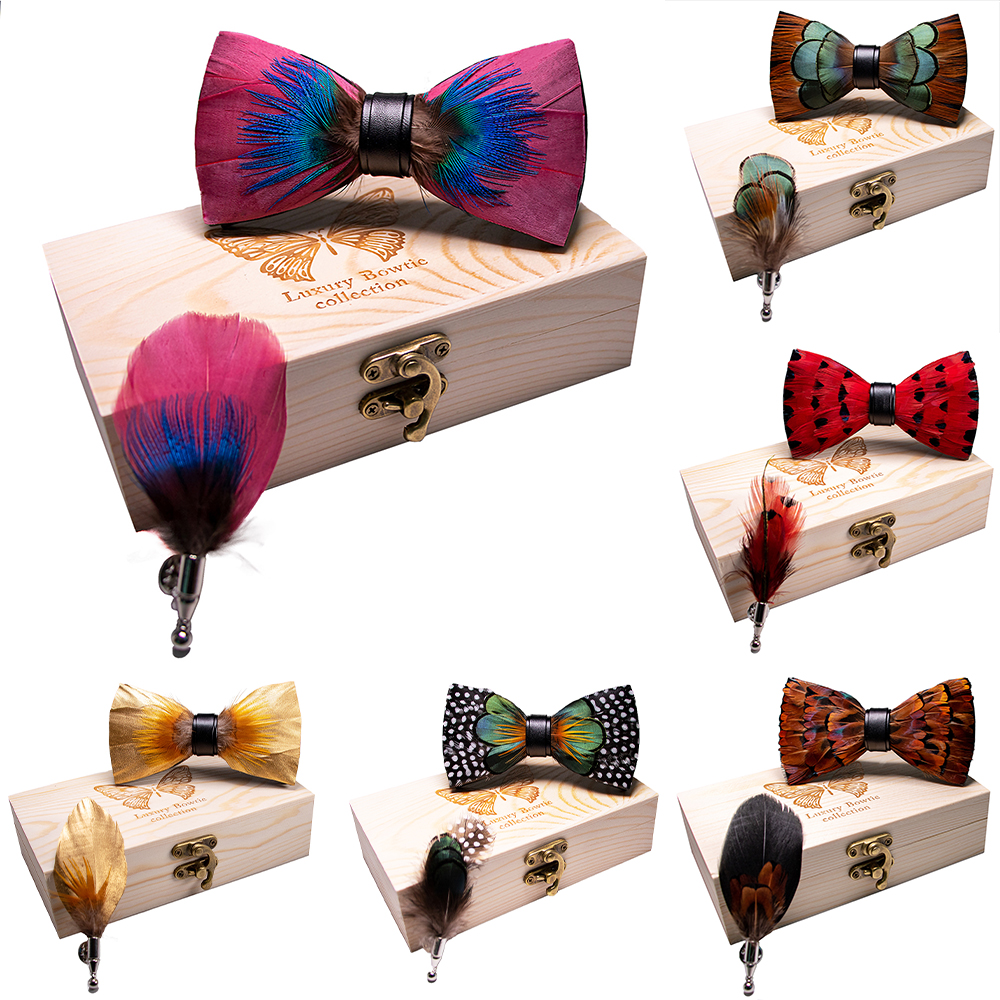 KAMBERFT 67 Style New Design Natural Feather Bow Tie Exquisite HandMade Mens BowTie Brooch Pin Wooden Gift Box Set For Wedding