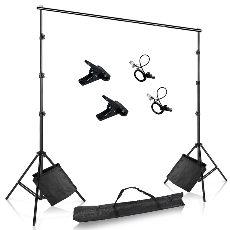 Photo Backdrop Stand Adjustable Photography Muslin Background Support System Stand With Sand bag for Photo Video Studio