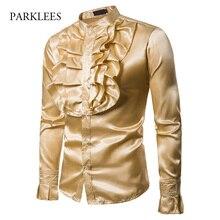 قميص كلاسيكي للرجال على شكل قصر الزهور من الحرير والساتان على نحو سلس قمصان بأكمام بتلات للرجال فستان حفلات الزفاف