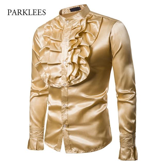 Vintage Chest Flower Palace Tuxedo Men Shirt Silk Satin Smooth Petal Sleeve Shirts Men Dress Stage Wedding Prom Chemise Homme