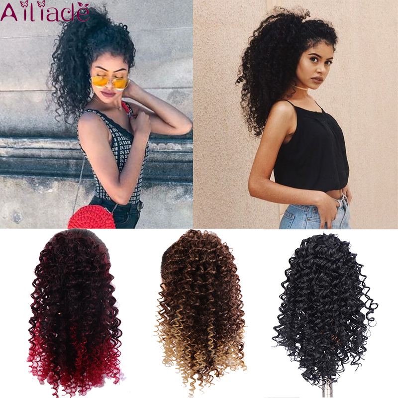 AILIADE Drawstring Puff Afro Kinky Curly Pony Tail African American Short Wrap Synthetic Clip In Ponytail Hair Extensions