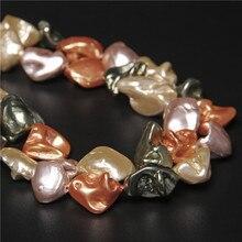 Imitação de contas de pérola irregular cor misturada concha de água doce grânulos soltos para fazer jóias pulseira diy colar 14