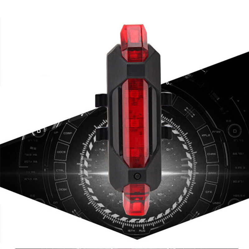 Lampu Sepeda Tahan Air USB Isi Ulang Sepeda Ekor Belakang Keselamatan Peringatan Lampu Belakang Lampu Bright Sepeda Ekor Lampu TSLM2