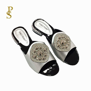 Image 2 - African style womens shoes slippers with metal trim and rhinestones for ladies