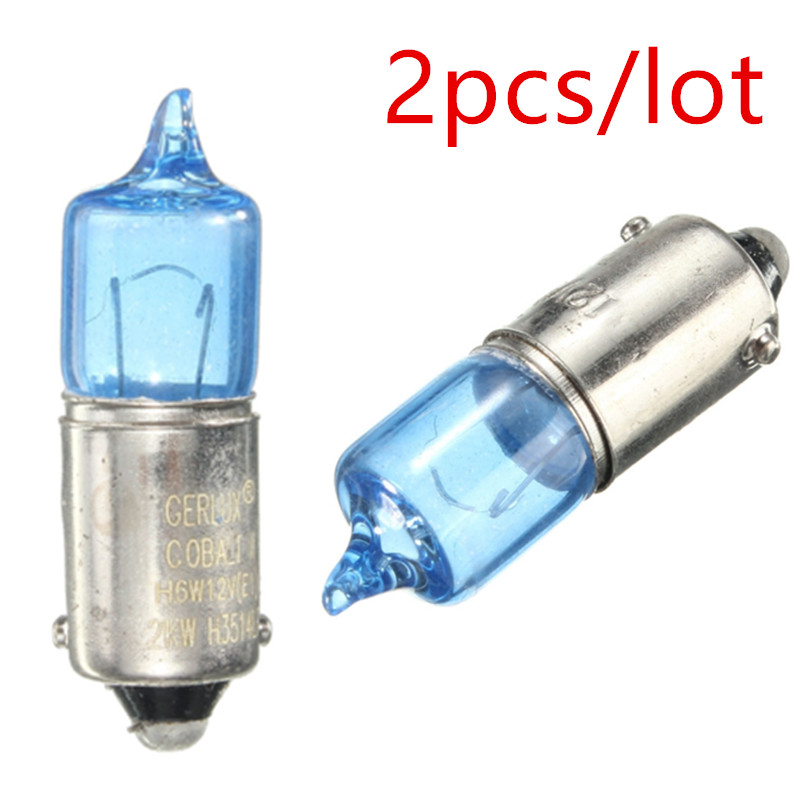 2pcs/lot For BAX9S H6W 6W Super Bright Xenon Auto Wedge Side Light Bulbs Turn Signal Light Lamp Bulbs Light Source