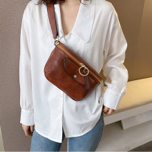 Totes Bag For Women 2020 Small PU Leather Shoulder Messenger Bags Solid Color Ladies Handbags and Purses Mini Clutch Bag Female brown leather look solid color clutch bag