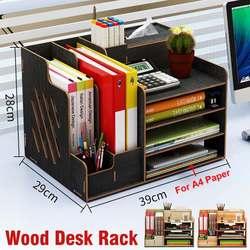 Многофункциональный настольный органайзер, деревянная коробка для хранения, офисный поднос для файлов, регулируемая деревянная полка для ...