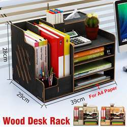 Multi-function Desktop Organizer Wooden Storage Box Office File Tray Adjustable Wood Display Shelf Tissue Holder with Drawer