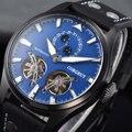 Corgeut синий циферблат 47 мм Автоматические Мужские механические часы маховик светящийся Календарь Неделя Мода кожаный ремешок часы