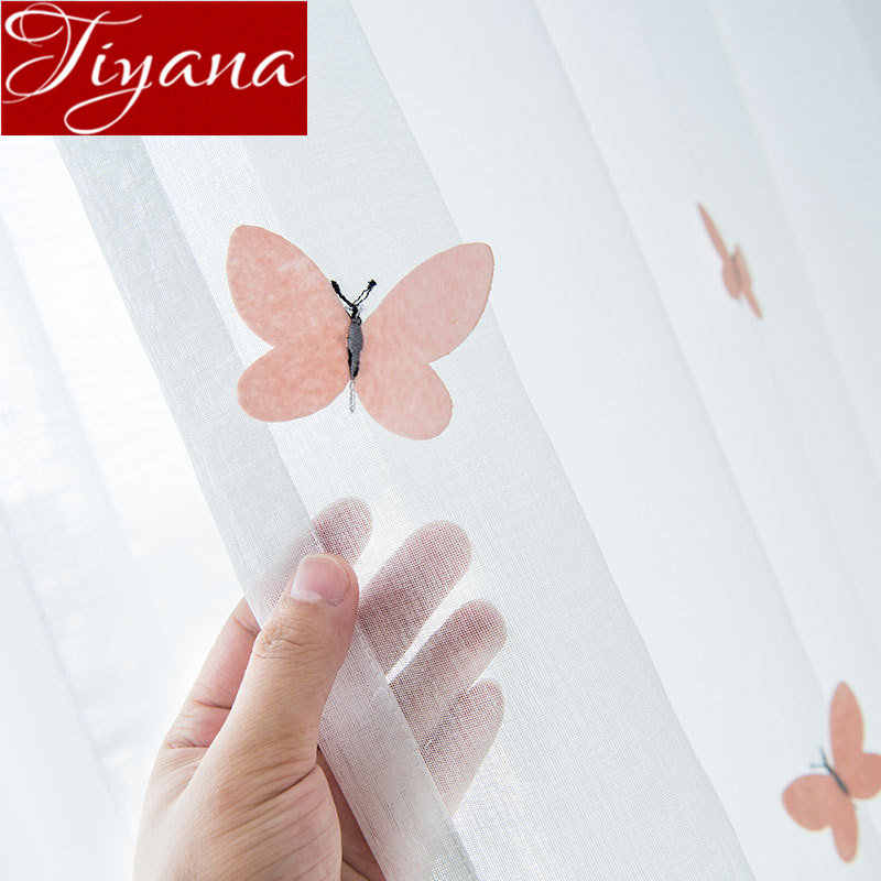 3D Butterfly Curtain Carttoon for Kids Girl Room Embroidery Voile Curtain Window Bedroom Drape Tulle Sheer Fabric Blinds X607#30