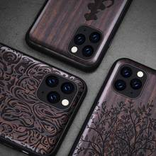 Black Wood 11 Pro Case For iPhone 11 Pro Max Case Wooden SE 2020 Cover TPU Coque For iPhone 7 8 Plus X XR XS Max11 Pro Funda