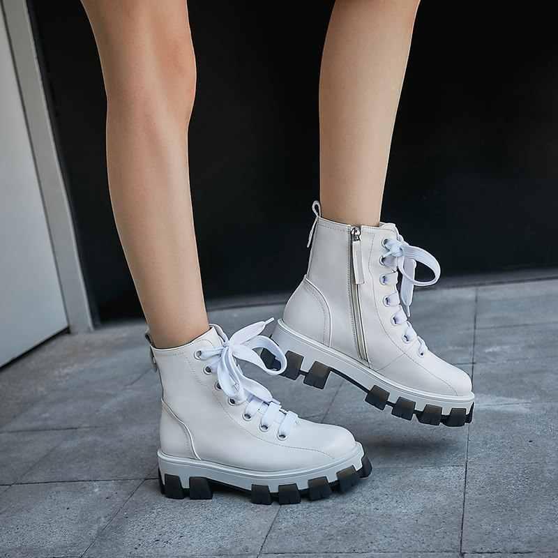 MORAZORA 2020 Bò Mới chính hãng Giày Da nữ buộc dây Mũi Tròn Đế Giày Mũi Tròn thu đông cổ chân giày nữ