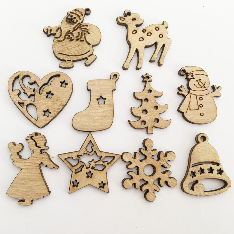50Pcs/Lot New Year DIY Christmas Tree Ornament Natural Wooden Snow Elk Hanging Pendants Gifts Christmas Decor Craft