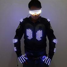 Mode LED armure allumer vestes Costume gant lunettes Led tenue vêtements Led Costume pour LED costumes de Robot(China)