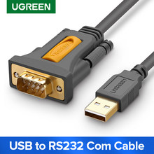Ugreen usb para rs232 com porta serial pda 9 db9 pino adaptador de cabo prolífico pl2303 para windows 7 8.1 xp vista mac os usb rs232 com(China)