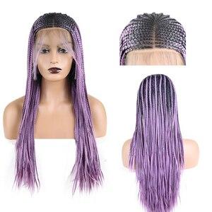 AIMEYA 13 × 6 głębokie części Box warkocze peruka dla czarnych kobiet długie Ombre fioletowy syntetyczny mikro pleciony koronki przodu peruki z dziecięcymi włosami