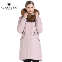 GASMAN 2019 Women's Jacket Parka Hooded Warm Winter Down Jacket Women Pink Fashion Coat Female Fur Collar Elegant Long Coat 1821