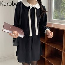 Korobov Summer Fashion Pater Pan Collar Women Dress Korean Chic A-Line Dresses Long Sleeve Lacing Bow Vestidos Mujer(China)