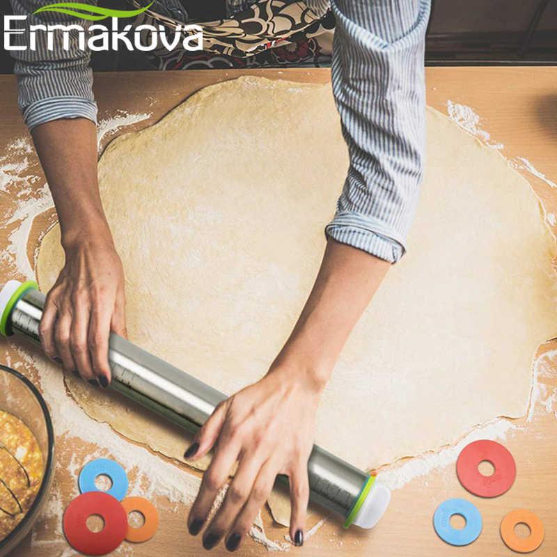 ERMAKOVA термостойкий силиконовый роликовый штифт с тестовым ковриком, валик для теста, силиконовый коврик для кондитерской доски с измерением, инструменты для выпечки