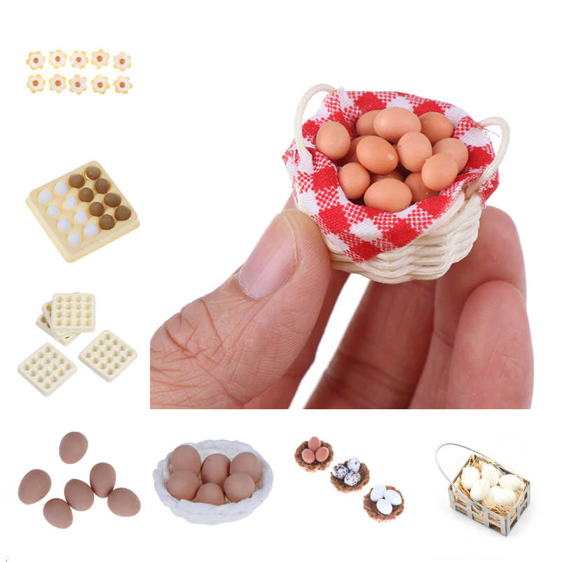 1:12 Scale Dollhouse Miniature Accessories Kitchen Food Mini Egg with Egg Trays for Doll House Cooking Game food