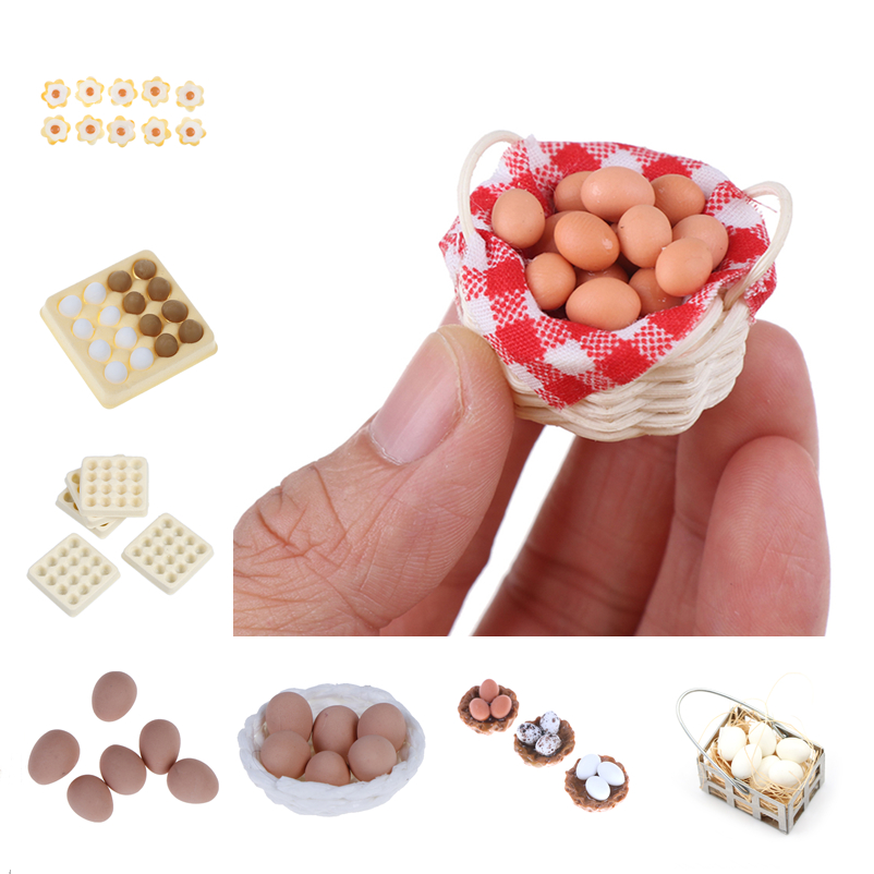 10Pcs Dollhouse Resin Chicken Eggs 1:6 Miniature Food Decor Accessories