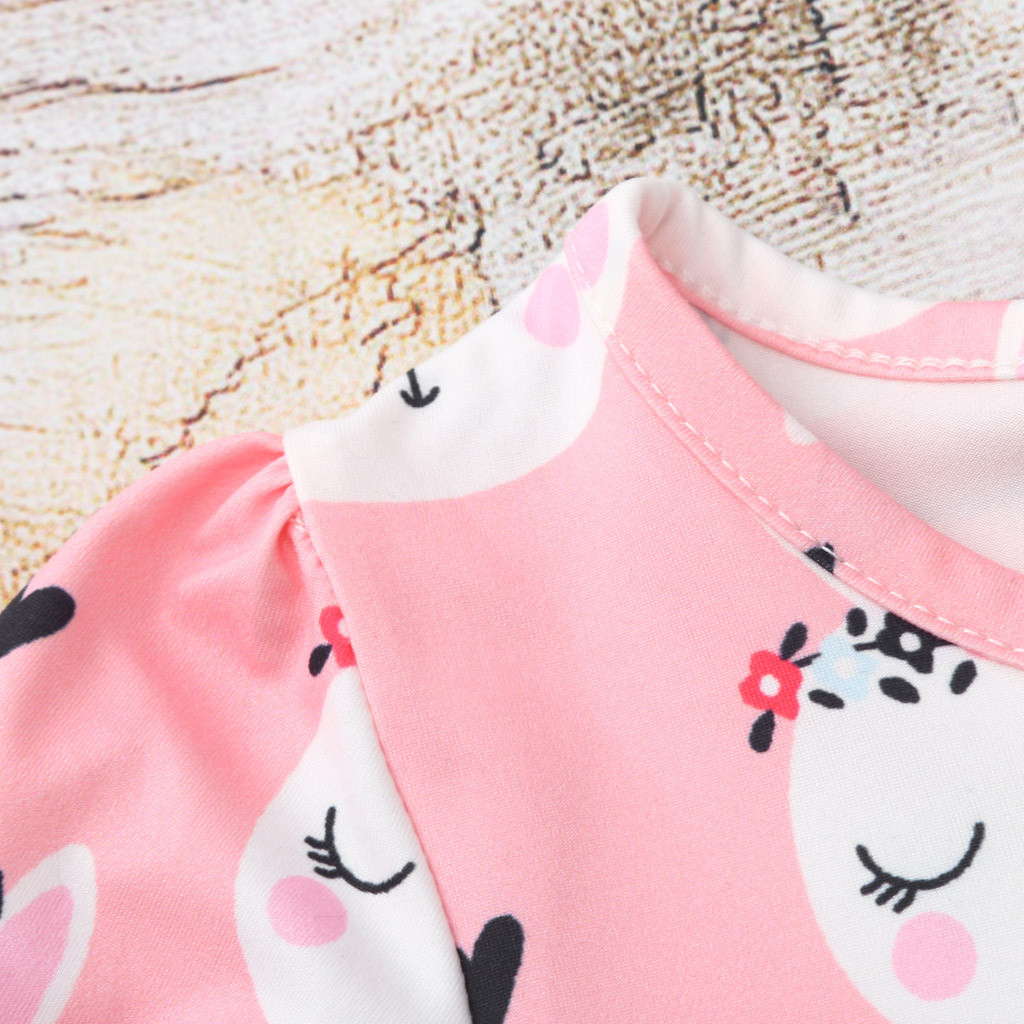 1-6Year Rabbit Dress For Girl Summer Clothes Short Sleeve Childrens Boutique Clothing Cartoon Print Kids Dresses For Girls Dress 4