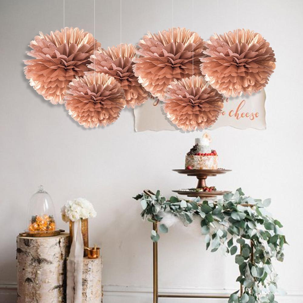 4pcs 25cm DIY Tissue Paper Flower Balls Wedding Decoration Pom Poms Party Birthday Baby Shower Birthday Homely Decor in Party DIY Decorations from Home Garden