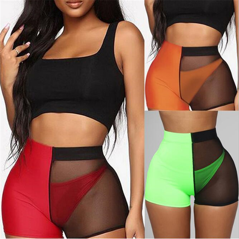 Women Sport   Shorts   Mesh Patchwork Design See Through   Shorts   Fashion Mid Waist Elastic Hip   Shorts   Ladies Streetwear   Shorts