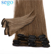 "SEGO 12""-24"" 55G-80G Clip In Human Hair Extensions Non-Remy Blonde Hair Thin 8Pc/Set Brazilian Hair Straight Clip In(China)"