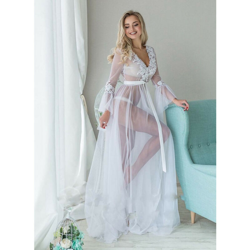 Sexy Dress Womens Sexy Mesh Sheer Lingerie Lace V-Neck Sleepwear Babydoll See Through Ladies Long Sleeve Floral Long Dress White