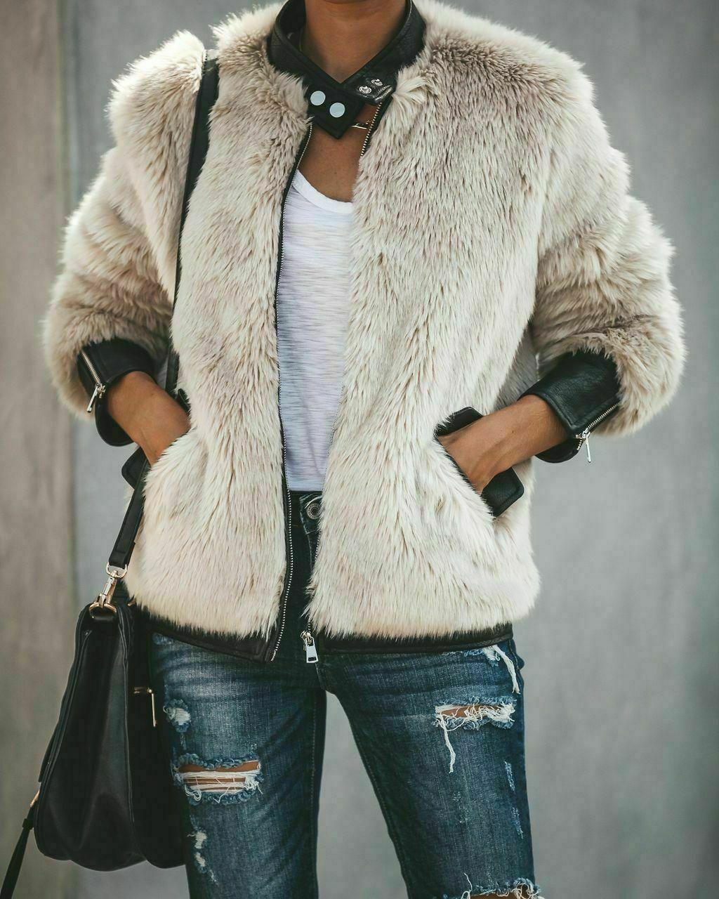 Womens Thick Warm Teddy Bear Pocket Fleece Jacket Coat Zip Up Outwear Overcoat