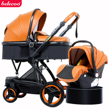 belecoo baby stroller 2 in 1/3 1 PU High landscape two way four wheel trolley folding portable