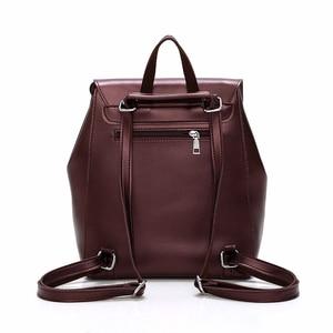 Image 3 - Femme sacs à Dos solide femmes école Sac à Dos Mochilas femmes en cuir sacs à Dos de haute qualité dames Sac à Dos Vintage Sac A Dos nouveau