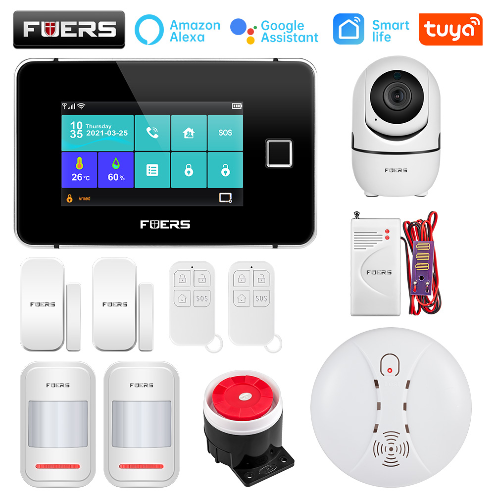 FUERS Smart Life Alarm Home Security Alarm System Tuya WiFi GSM Touch screen Temperature Humidity Display Fingerprint 433MHz
