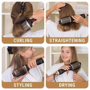 Image 5 - Professionnel une étape sèche cheveux brosse volumizer 2 en 1 lisseur et bigoudi Air chaud fer à friser lisse frisottis rouleaux peigne