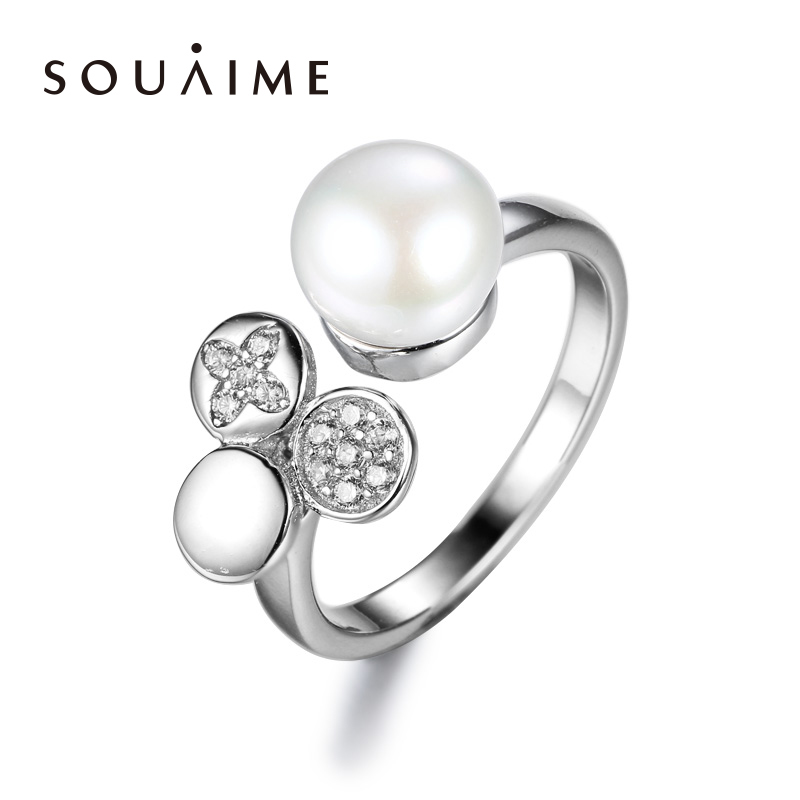 100% Genuine Natural Pearl Adjusting Ring 925 Sterling Silver  & White For Women