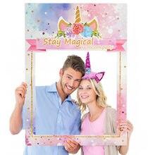 Marco de fotos de unicornio para niños, recuerdo de cumpleaños, papel para fiesta, utillaje de foto para Baby Shower, decoración de boda, diadema de unicornio, Uds. Tema de unicornio