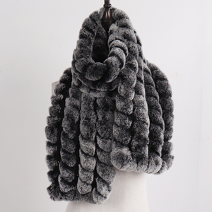Image 2 - 2020 New Knitted Fashion Lady Real Rex Rabbit Fur Scarf Women Winter Warm Natural Fur Scarves Long Style Real Fur Neckerchief