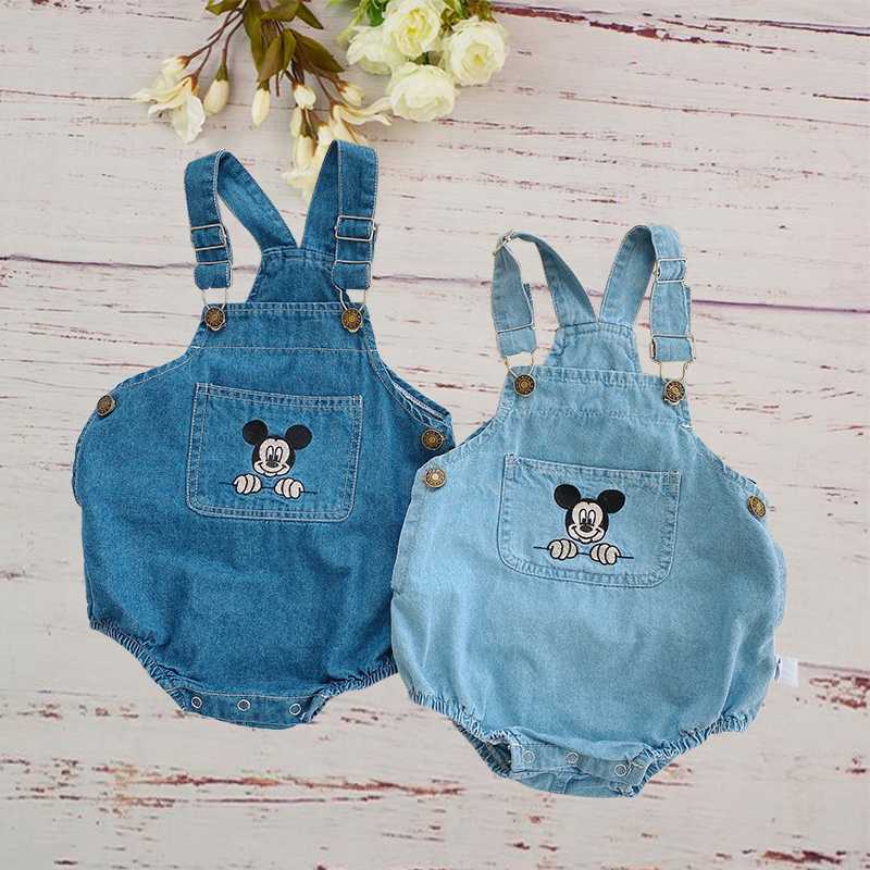 Mickey Mouse Newborn Baby Clothes Summer 2020 Girls Boy Cowboy Children Rompers Disney Cartoon Jumpsuit Sling Strap Kids Outfits