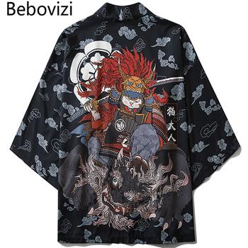 Bebovizi styl japoński kot samuraj Kimono Streetwear mężczyźni kobiety sweter z japonii Harajuku Anime szata ubrania Anime 2020 lato tanie i dobre opinie Poliester Połowa