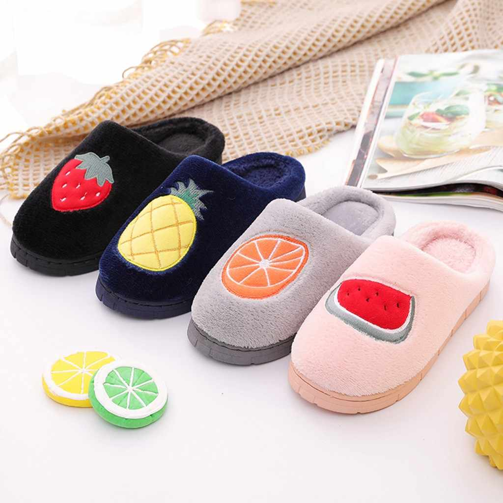 Couples Fruit Flock Warm Non-slip Floor Home Slippers Indoor Shoes Plus Size Slip On Indoor Slippers Women zapatos de mujer